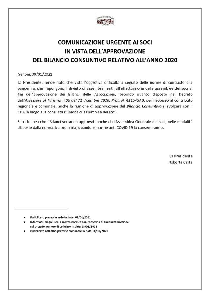Avviso Bilancio Consuntivo 2021