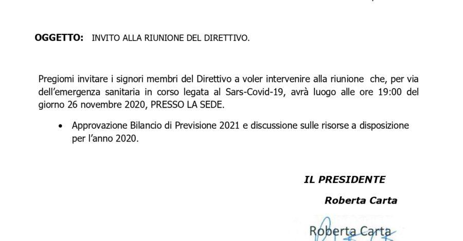 CONVOCAZIONE CDA BILANCIO PREVISIONE